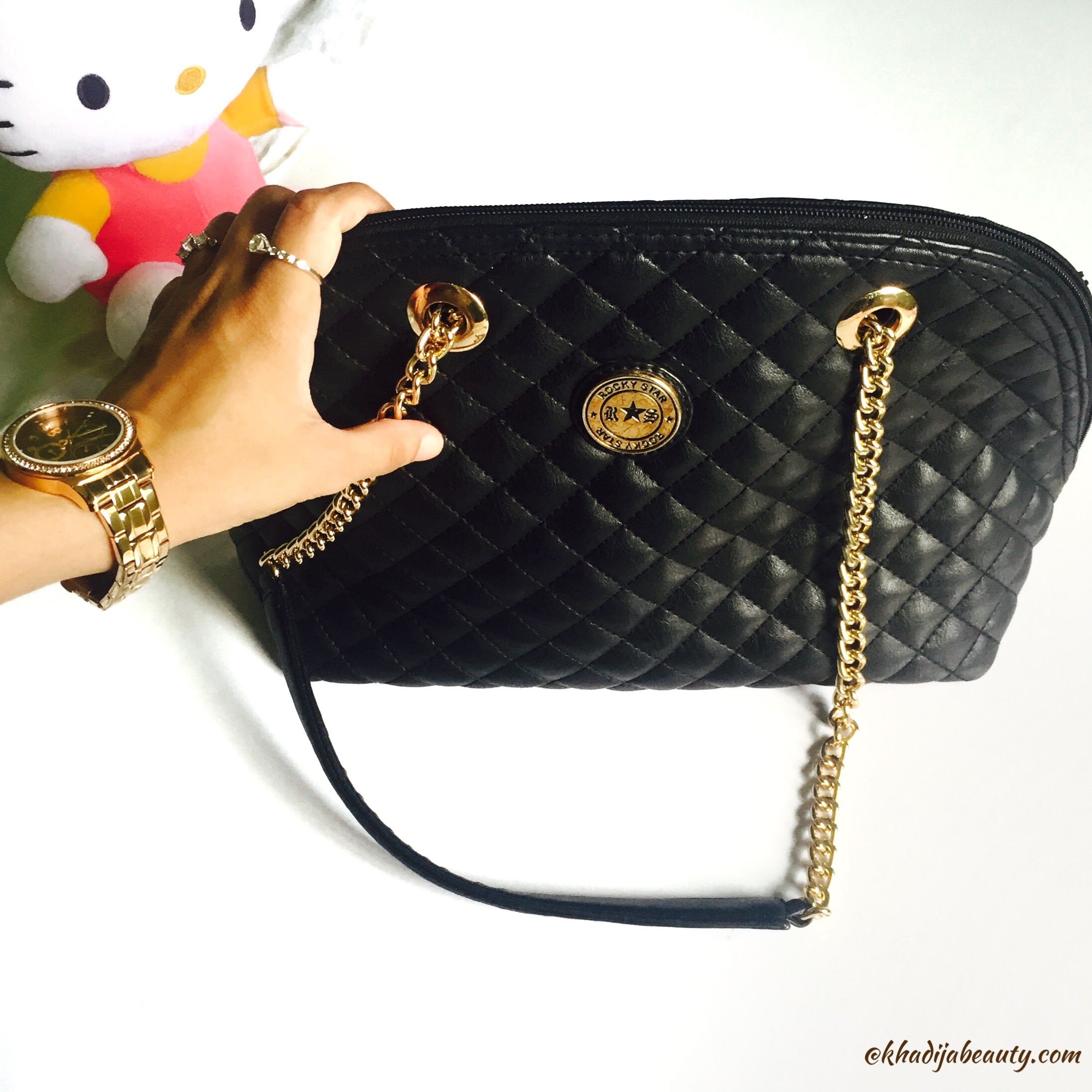 Rocky star handbag, chic and classy black handbag, khadija beauty