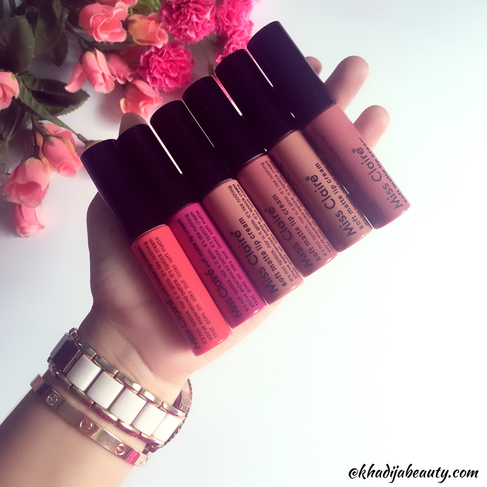 miss claire soft matte lip cream review and swatches, khadija beauty