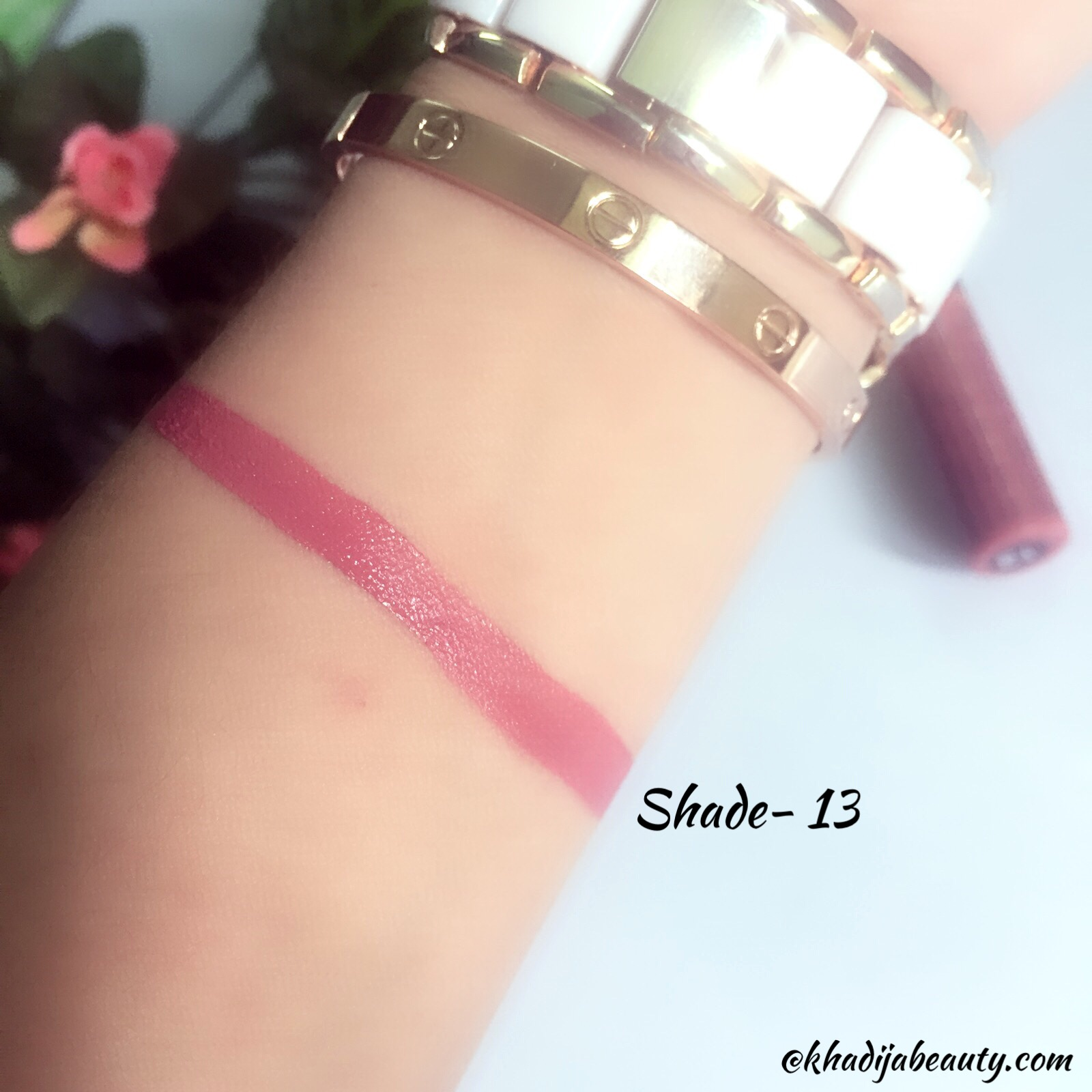 miss claire soft matte lip cream shade 13 review and swatches, khadija beauty