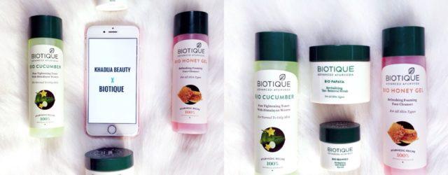 Biotique toner, cleanser, eye gel, scrub review, khadija beauty