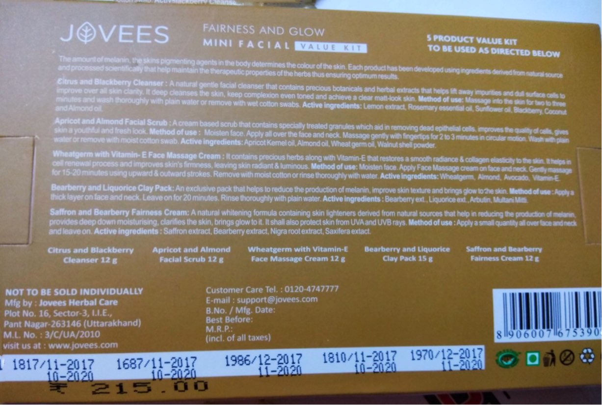 Jovees Fairness and Glow Mini Facial Kit