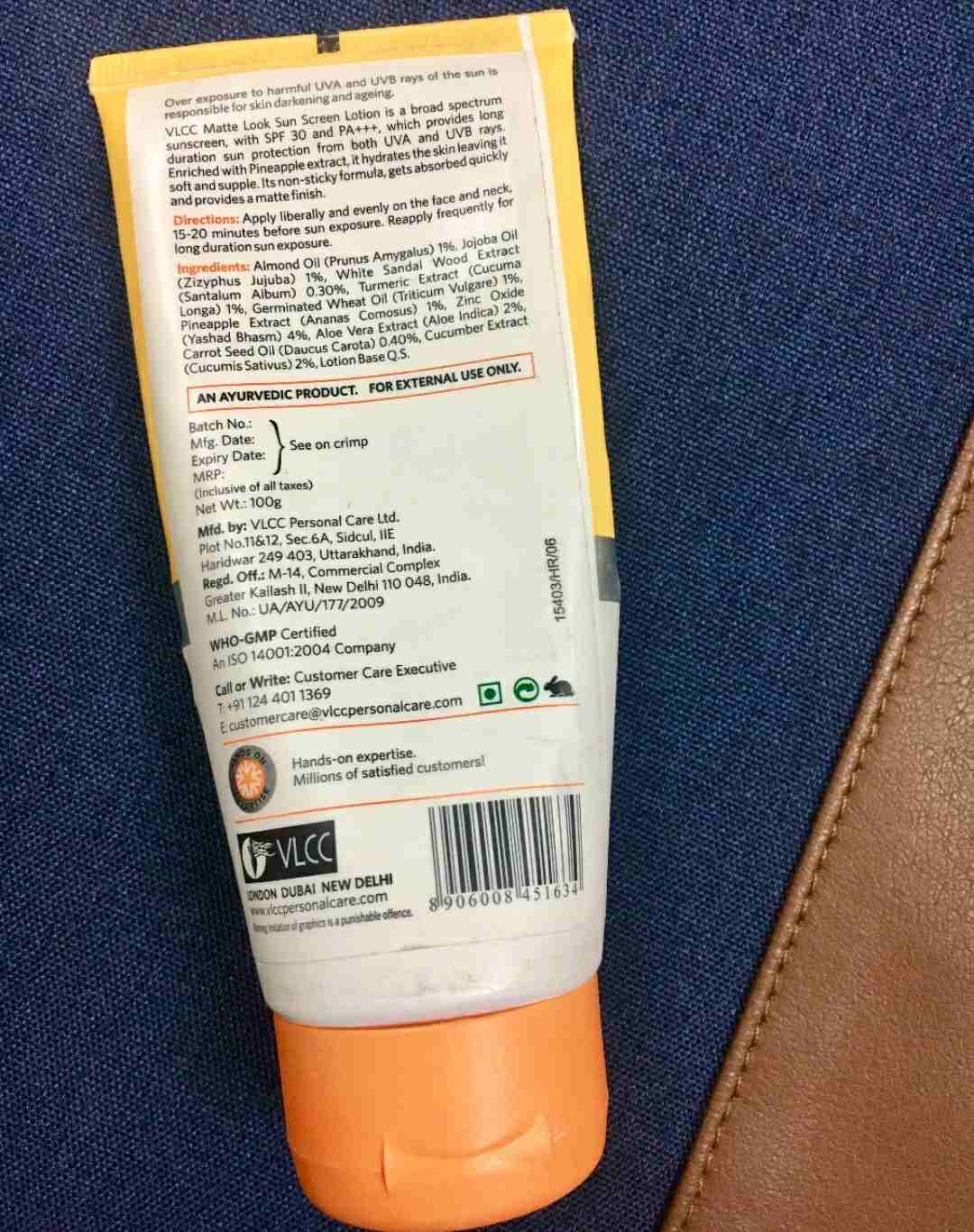 VLCC Matte Look Sunscreen Lotion SPF 30 Review