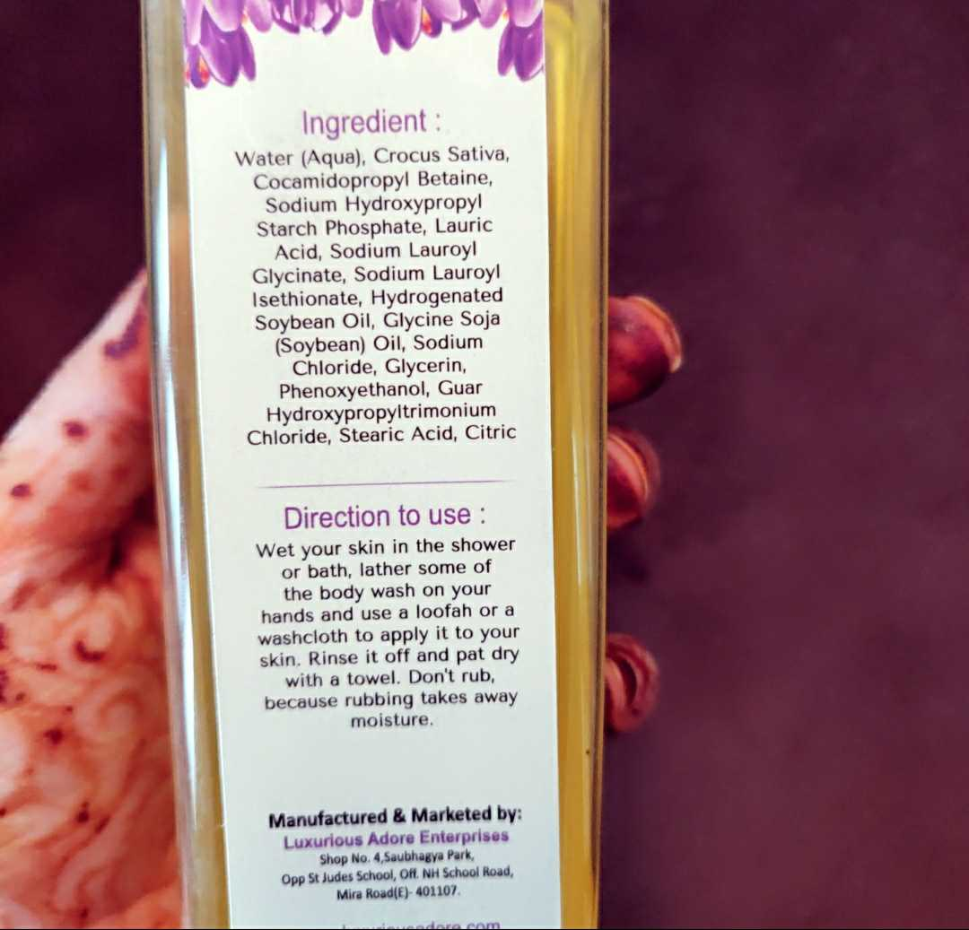 Luxurious adore Saffron body wash review