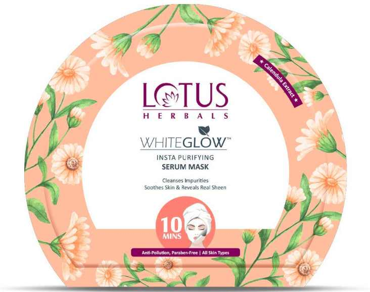 7. Lotus Herbals Whiteglow Insta Purifying Serum Sheet Mask
