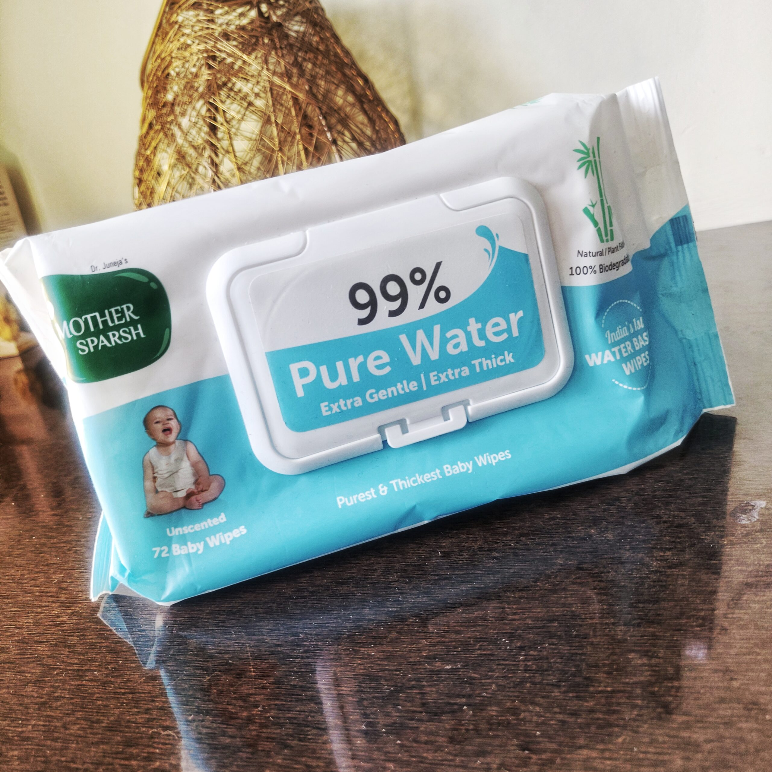 Mother Sparsh 99% Unscented Pure Water Baby Wipes  (Price - Rs.299  for Pack 72 wipes)